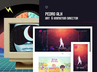Fabrik x Pedro Alk animated art director art direction portfolio page portfolio design animator animation collage art collage portfolio site website builder portfolio website portfolio website