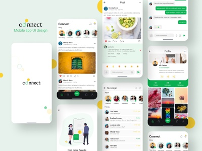 Connect - Social Media App connect chat app message app social media app social media design ui design mobile ui userinterface minimal mobile app design appdesign app ux ui design