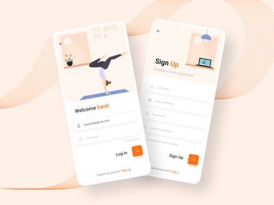 Yoga mobile app UI design login - signup signup login mobileappdesign userinterface yoga app gym app workout app fitness yoga app ui mobile ui mobileapp uidesign appdesign app ux ui design