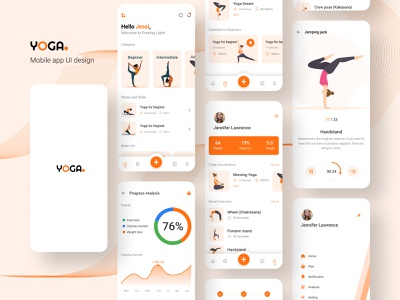 Yoga mobile app UI design | Fitness | Workout | Cardio | Gym ui appdesign minimal gym app workout app fitness app yoga app mobile app design app design ui designer ui design design