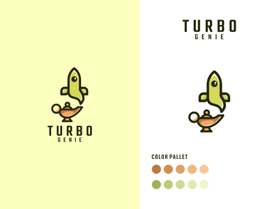 TURBO GENIE rocket turbo logotype illustration vector luxury design branding lineart icon symbol logo
