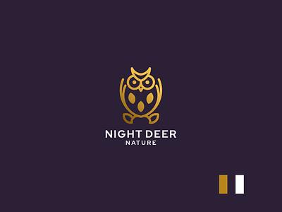 night deer nature owl animal luxury design branding lineart icon symbol logo