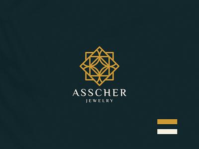 ASSCHER JEWELRY logodesign jewelry monogram illustration brand luxury design branding lineart icon symbol logo