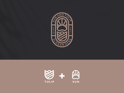 sun and tulip nature tulip sun vector luxury design branding lineart icon symbol logo