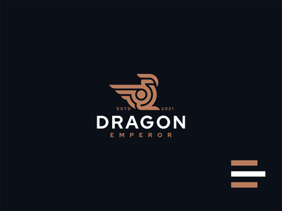 DRAGON 1 emperor dragon illustration animal vector luxury design branding lineart icon symbol logo