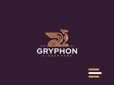 GRYPHON grid illustration vector luxury monogram griffin design branding lineart icon symbol logo