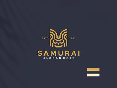 Samurai Logo vintage logo vintage samurai illustration monogram vector luxury design icon branding lineart symbol logo