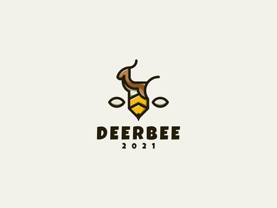 DeerBee Logo cartoon character bee deer logotype illustration animal vector design icon branding lineart symbol logo