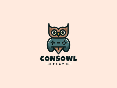 Consowl Logo owl illustration joystick owl bird illustration animal vector design icon branding lineart symbol logo