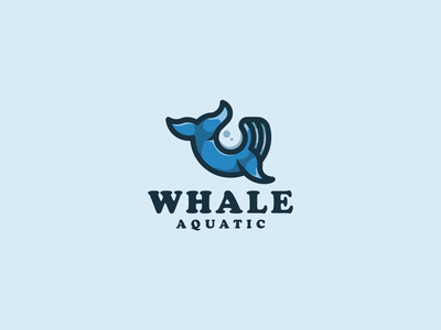 Whale Aquatic Logo water whale fish logotype illustration animal vector design icon branding lineart symbol logo
