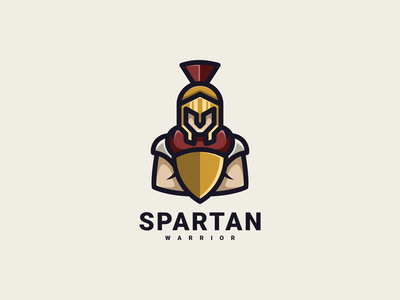 Spartan Warrior typography warrior spartan logo illustration luxury design icon branding lineart symbol logo