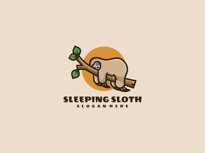 Sleeping Sloth nature emblem sleeping typography illustration animal vector design icon branding lineart symbol logo