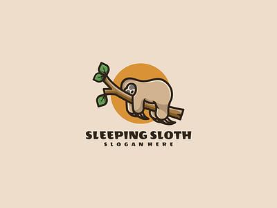 Sleeping Sloth nature emblem sleeping typography illustration animal vector design icon branding lineart symbol logo