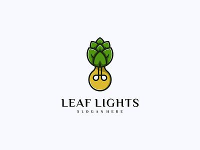 Leaf Light Logo company nature leaf lamp logotype vector design icon branding lineart symbol logo illustration
