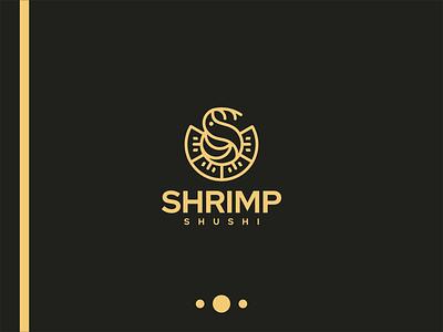 Shrimp Shushi Logo japan shushi restaurant emblem vector illustration design icon branding symbol company designlogo lineart luxury