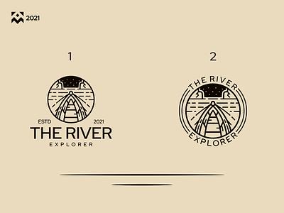The River Explorer Logo graphic design badge boat explorer river vintage emblem nature vector illustration luxury design icon lineart branding symbol logo