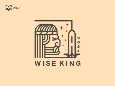 Wise King Logo brave man old character vintage king emblem illustration vector icon design branding lineart symbol logo