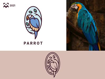 Parrot Logo leaf tree nature cartoon wings parrot bird emblem carton character illustration vector design icon branding lineart symbol logo
