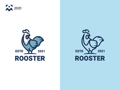 Rooster Logo shop company chicken rooster graphic design cartoon character illustration vector design icon branding lineart symbol logo