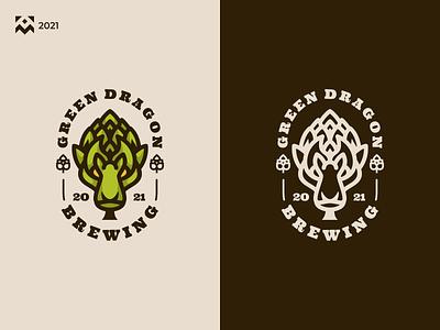 Green Dragon Logo beer brewing modern retro vintage dragon green illustration vector design icon branding lineart symbol logo