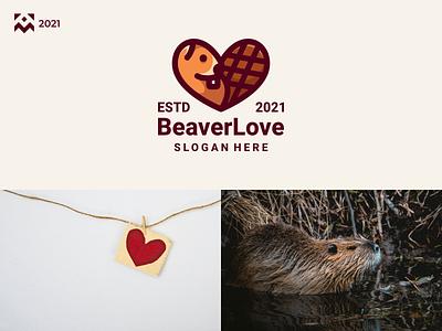 Beaver Love Logo vintage cute beaver love animal emblem illustration vector design icon branding lineart symbol logo