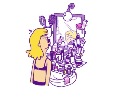 Too many cosmetic products mirror beauty cosmetics magazine illustration cartoon funny editorial illustration
