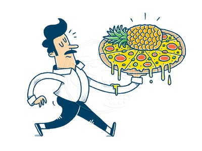 Pizza Hawaii pizza box italian food comic drawing editorial illustration pizza hawaii pizza