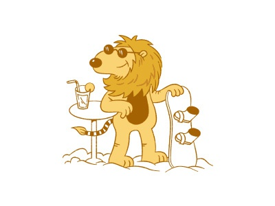 Lion / unpublished snowboarder cartoon comic funny kids illustration lion