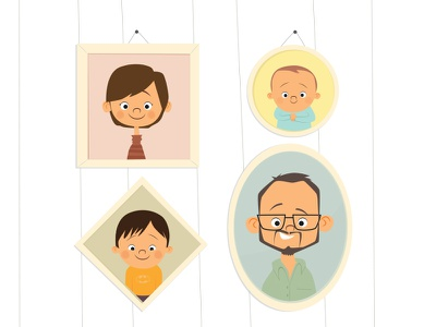 Family Portrait illustration frames portrait family