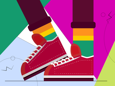shoes Pose colourful colors style illustration design flat art illustration character
