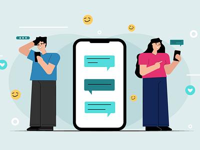 Couple Online Chatting social media chatting online girl illustration illustrator flat art illustration character design flat design color style colors illustraion illustration flat art