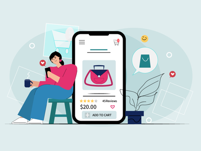 Online Shopping bag shopping shopping app online shopping reactions illustration color style colors illustrator design colourful flat art flat design flat art illustration character illustraion