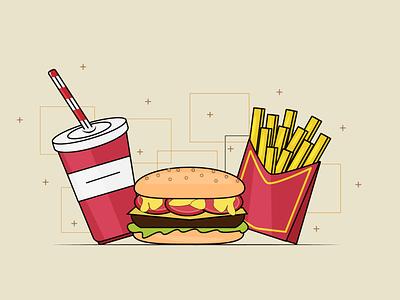 Burger meal drink food fastfood fries soda burger illustrator illustration design flat design flat art