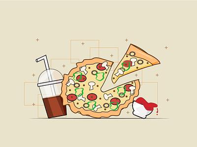pizza pizza box souse soda fast food pizza color style illustrator illustration design flat design flat art