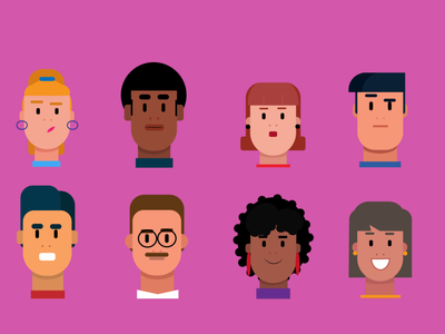 people character design face reactions girl character illustrator illustraion color style flat art illustration character design illustration flat design flat art