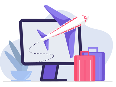 traveling laptop pc bags plane traveling illustraion colourful colors flat art illustration character illustrator illustration design flat design flat art