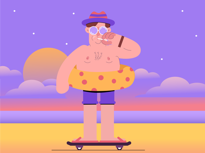 summer time lolipop sunglasses sun sea sunset summertime colors colourful color style illustraion flat art illustration character illustrator design illustration flat design flat art