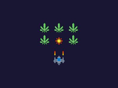 Green Invaders alien spaceship space marijuana pixel invader weed