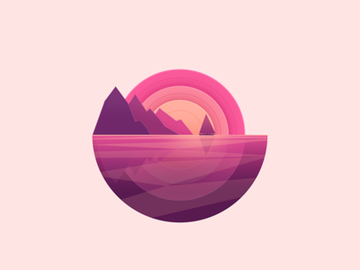 Sunset flat vector sunset yacht logo ui simple illustration gradient