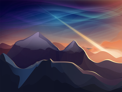 Meteor flat vector meteor north pole polar lights mountains illustration gradient