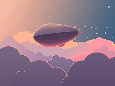 Airship flat vector airship sky freedom stars cloud illustration gradient