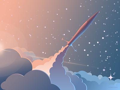 Spaceship flat vector space spaceship rocket illustration gradient