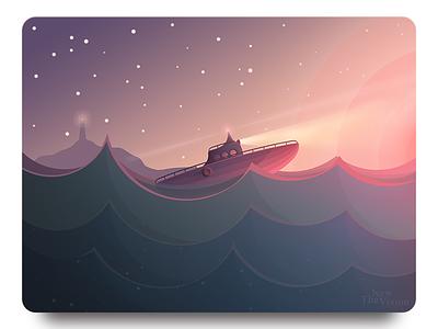 Sea Trip sea ship sunset dreams illustration flat