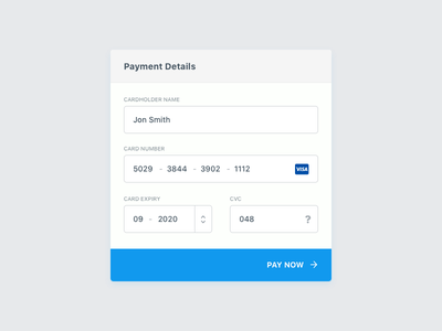 Daily UI Challenge 02 - Credit Card Details ecommerce ui