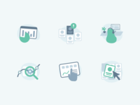 Feature illustrations for AgentQ design exploration colour palette flat icons devices visual identity data charts office illustration ui branding vectors