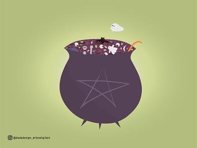 Witch's Caldron halloween illustrator ghosts cute flat illustration witch caldron illustration cats