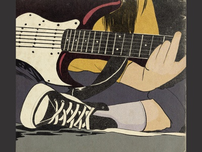 old school guitar girl grunge music oldschool comic style guitar digital illustration digitalart procreate illustration