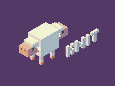 Knit. Logo concept. head square animal mascot sheep knit 3d isometric logo
