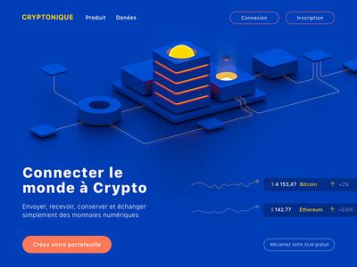 Hero Image 3d ui web  design blockchain data bitcoin illustration crypto currency