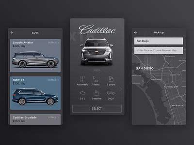Car rental app map concept interface sketch ux icons bmw vehicle app mobile ios cadillac ui rental car
